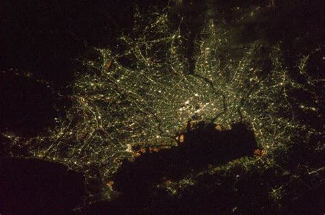 Night Earth Greater Tokyo Area And Tokyo Bay 東京 Japan