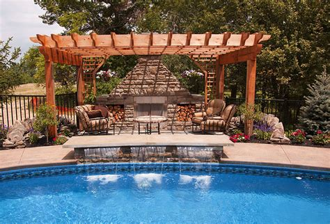 pool with pergola lifetime fence roof