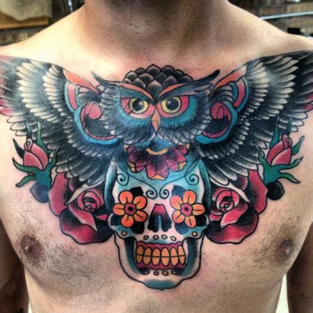 owl  skull tattoo designs