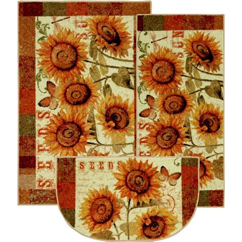 shop sunshine seeds  piece kitchen rug set