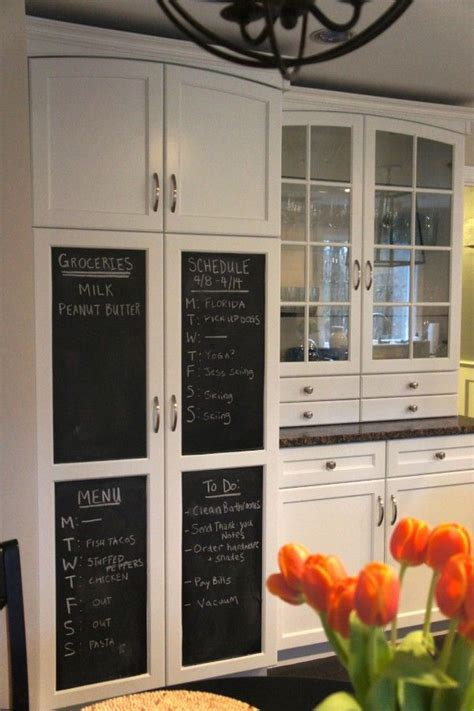 awesome white kitchen pantry cabinet  chalkboard
