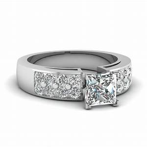 Engagement ring ready to wear preset engagement rings for Princess cut solitaire engagement ring with wedding band