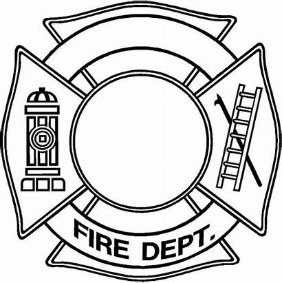 Fire Coloring Template Maltese Cross Department Firefighter