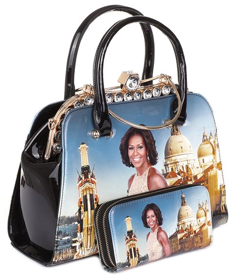 glossy magazine cover satchel bag  wallet set hb