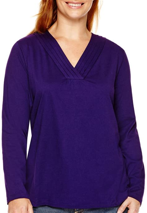 jcpenney plus size blouses jcpenney st 39 s bay sleeve crossover t shirt