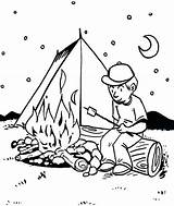 Campfire Coloring Pages Tent Fornt Students Sheets Fun sketch template