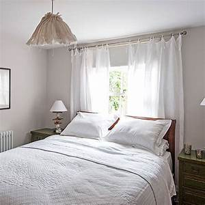 White bedroom with sheer curtains decorating for Sheer white curtains in bedroom