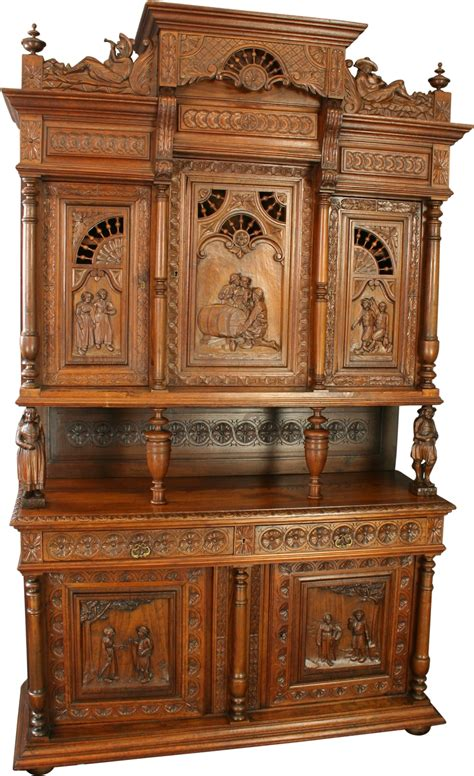 antique buffet cabinet furniture antique chestnut french brittany style beer wine buffet