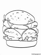 Cheeseburger Coloring Double Printable Drinks Getcolorings Penciling Lovers Children Drawing Line 1coloring sketch template