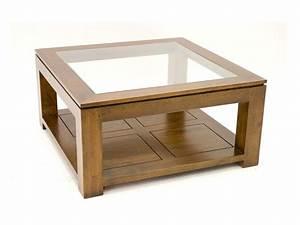 Table De Salon Carrée : table de salon holly double plateau avec 1 panneau en verre meubles bois massif ~ Teatrodelosmanantiales.com Idées de Décoration
