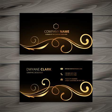 business card  golden ornaments  vectors ui