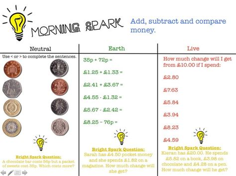 Morning Spark Maths Activities Year 34 By Waterscj