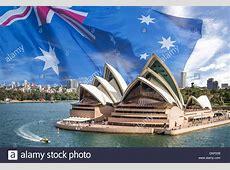 Conceptual image Fluttering Australian flag as background