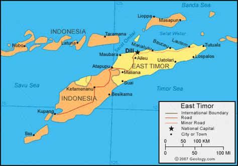 east timor map  satellite image