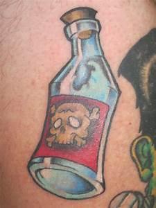 Dagger Bottle And Drug Free Tattoo Design
