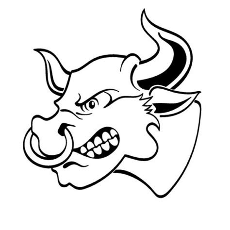 angry bull head  lateral view vector