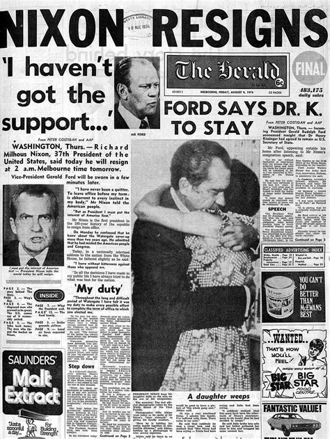watergate scandal nixon newspaper richard 1974 democracy press safeguard vital proved freedom nav courier mail downfall reported herald melbourne
