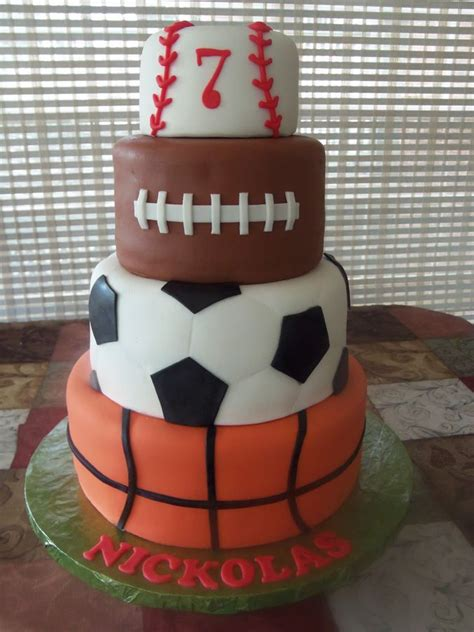 sports cake basketball soccer football  baseball