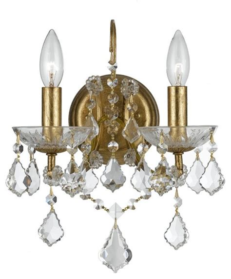 filmore two light antique gold wall light transitional