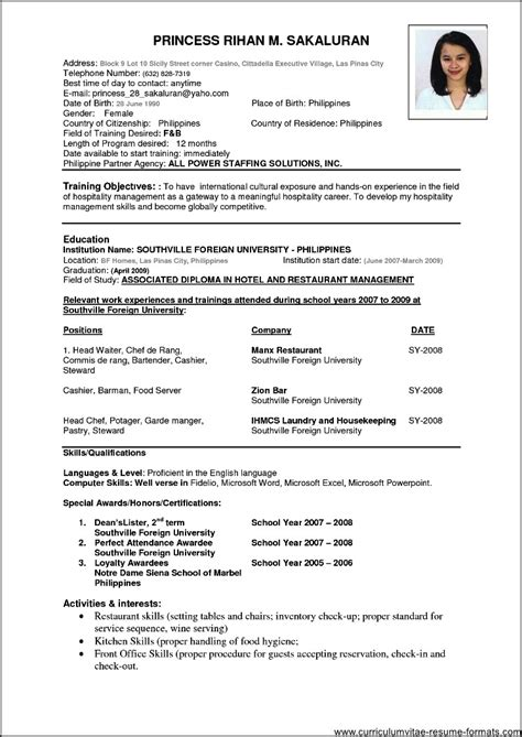 sample resume format  experienced  professionals