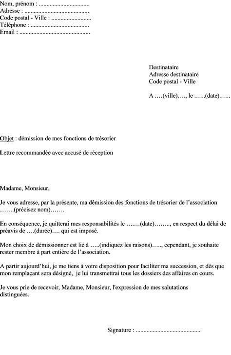 demission du bureau d une association loi 1901 modele lettre demission tresorier association contrat de