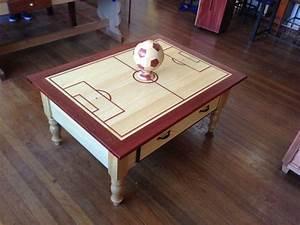 Soccer themed coffee table by aaronmad lumberjockscom for Themed coffee tables