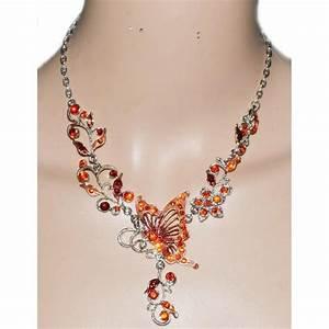collier strass orange rouge bijoux fantaisie achat With bijoux fantaisie discount