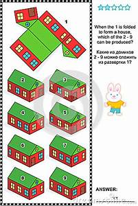 Visual Math Puzzle With Folded Model Paper Houses Stock ...