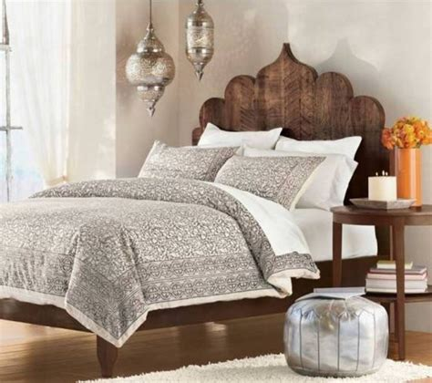 Chic Bedroom Ideas - bedroom moroccan style bedroom furniture and pouf ottoman with bedding also pendant lights