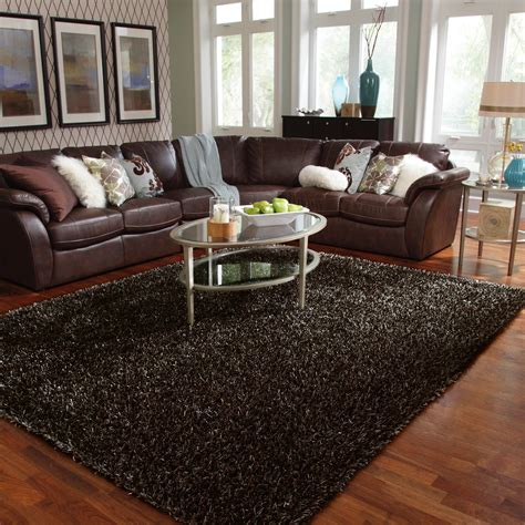 Brown Sofa And Rug In Living Room Interior Design With Brown Leather