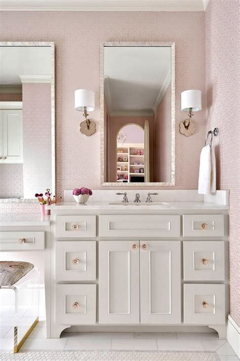 pink girls bathroom  gray glass tiles transitional