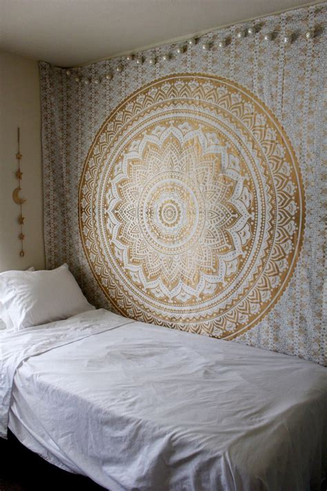 gold and silver color trippy ombre medallion mandala wall