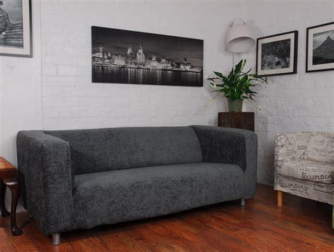 grey roma linen textured chenille ikea klippan sofa cover