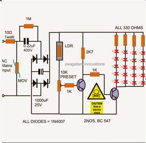 How Make Simple Led Automatic Day Night Lamp Circuit