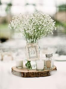 Mason, Jar, Wedding, Centerpiece, On, Wooden, Slice, Filled, In, Baby, U0026, 39, S, Breath