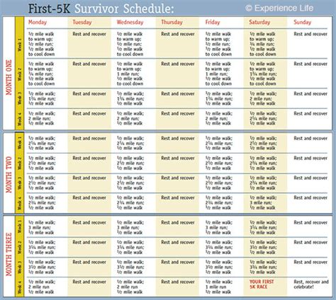 to 5k schedule a handy 5k schedule infographic fitness
