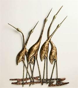 Crane quintet wall art sculpture metal heron bird gold