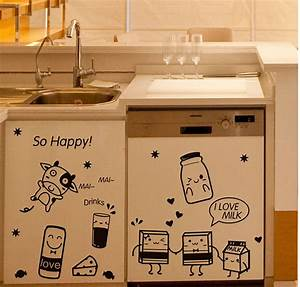 cartoon happy cooking art mural mural decor poster tile With kitchen cabinets lowes with decal sticker printing