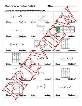 identify linear  nonlinear functions worksheet tpt