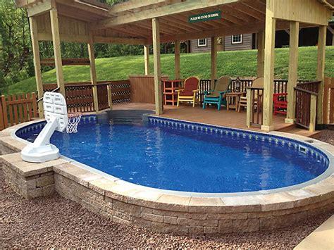 Semi Inground Swimming Pool  Backyard Design Ideas