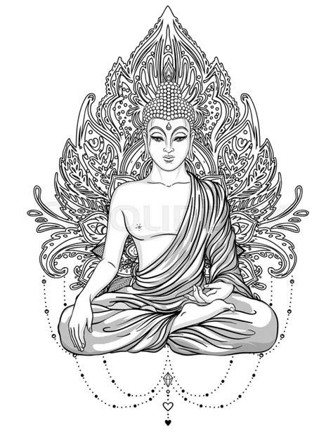 Kleurplaat Garuda by Sitting Buddha Ornate Flower Stock Vector