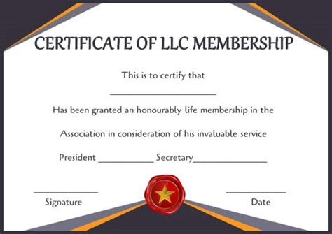 llc membership certificate template free membership certificates 14 templates in word format ready to use demplates