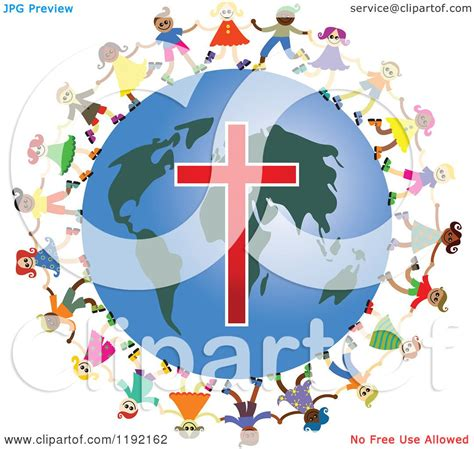 clipart  diverse christian kids holding hands