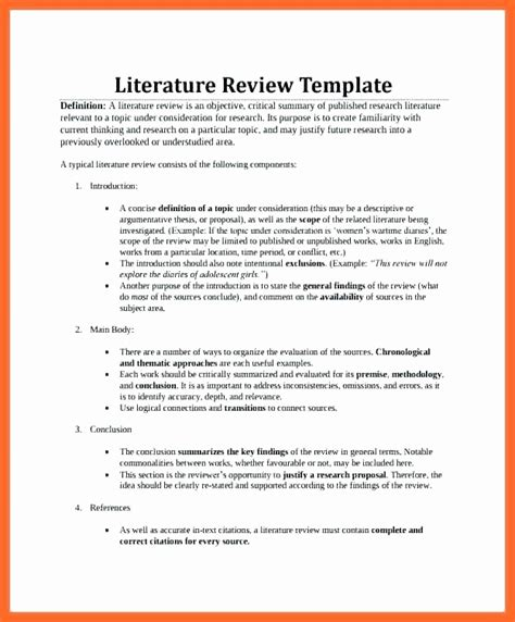 Literature Review Template Literature Review Template Sle New Lit Review Template