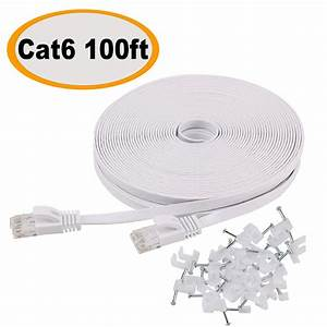 Cat 6 Ethernet Cable 100 Ft Flat White  Slim Long Internet