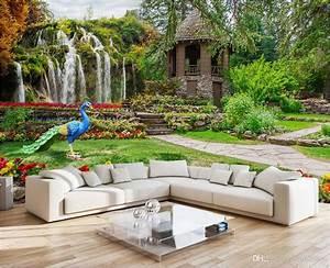Poster Mural 3d : 3d wallpaper custom photo mural garden landscape waterfalls landscape decoration painting 3d ~ Teatrodelosmanantiales.com Idées de Décoration