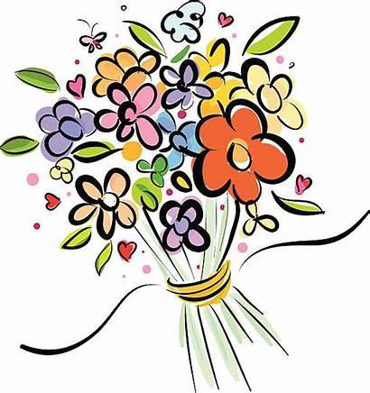 Flowers Bundle Bunch Bouquet Vector Clip Cartoons