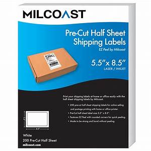 Milcoast pre cut 55 x 85 half sheet shipping labels for Half page shipping labels