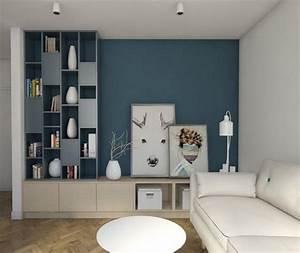 deco salon mur de couleur vivant bois brun gris bleu With deco salon mur blanc