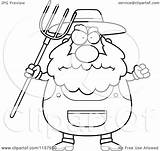 Farmer Cartoon Pitchfork Clipart Coloring Anger Waving Plump Cory Thoman Outlined Vector 2021 sketch template
